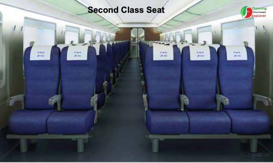 second class ticket seat - Nanning China High Speed Rail